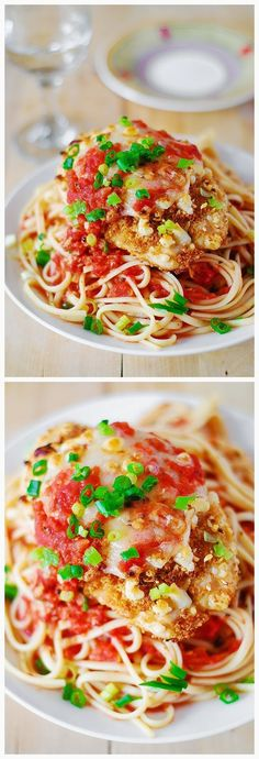 Chicken parmesan pasta in a garlic tomato sauce   Ingredients   Garlic tomato sauce and pasta:    2 tablespoons olive oil  1 large onion,...