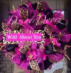 SALE Wild about YOU leopard deco mesh wreath by DzinerDoorz, Valentine Day Wreaths, Valentines Day Decorations, Christmas Wreaths, Spring Decorations, Tulle Wreath, Diy Wreath, Wreath Ideas, Summer Wreath, 4th Of July Wreath
