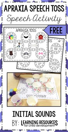 Apraxia Speech Toss for Initial Sounds. Perfect Speech Therapy Activity for apraxia, apraxia of speech, childhood apraxia of speech, cas, and other speech disorders. Free Printable by Learning Resources for Child Development. Articulation Therapy, Articulation Activities, Speech Activities, Speech Language Therapy, Speech Therapy Activities, Speech And Language, Speech Pathology, Phonics, Language Activities