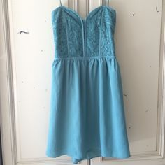 "Lovers In Paris Strapless Teal Dress Strapless Teal Dress, very pretty on, I am 5'6"" and it would hang about 2 to 3 inches above my knee. Good condition Audrey 3 + 1 Dresses"