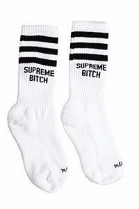 Supreme Bitch Socks http://shop.nylon.com/collections/whats-new/products/supreme-bitch-socks #NYLONshop