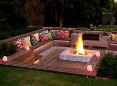 Sunken deck with fire pit