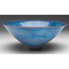 """Nice Natzler bowl, flaring and footed shape in red clay, covered with a mottled blue and lavender glaze, signed, 7""""w x 2.75""""h"""