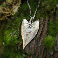 Valentine's Day Special  Elven Heart Leaf Necklace by SilvanArts, $68.00