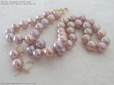 Blue and Golden Lavender Round Freshwater Pearl Necklace and Earring Set