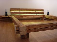 Build your own bed for an individual bedroom design_diy bed with head . - Build your own bed for an individual bedroom Design_diy bed with headboard made of wooden beams - Cama Design, Design Diy, Custom Design, Rustic Furniture, Diy Furniture, Furniture Design, Furniture Plans, Palette Furniture, Diy Bett