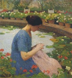 """""""Sewing in the Garden at Marquayrol"""", by Henri Martin (French, 1860-1943)"""
