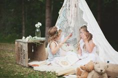 Lace teepee, vintage beats, old crate, simple flowers: