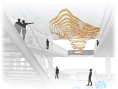 Contours is a site-specific light installation sitting at the heart of Tableau Software's Seattle HQ, exploring themes of nature and Ceiling Art, Ceiling Design, Ceiling Lights, Ceiling Installation, Artistic Installation, Lobby Interior, Interior Lighting, Interior Design, Interior Rendering