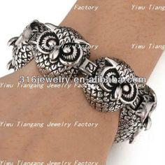 2014 novo de venda quente da forma da mulher o homem lançando jóias em aço inoxidável pulseira de coruja pulseira com a cor prata (SS-243)