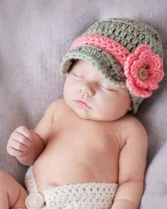 Baby Girl Hat or Baby Boy Infant Newsboy Hat WITH 6 accessories. $37.00, via Etsy.