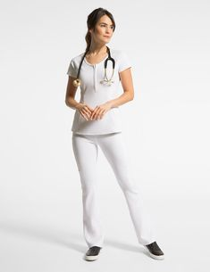 Yoga Pant in White is a contemporary addition to women's medical scrub outfits. Shop Jaanuu for scrubs, lab coats and other medical apparel.