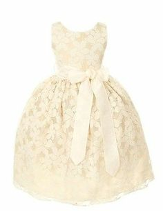 Sweet Kids Girls Floral Embroidered Lace Flower Girl Dress Ivory