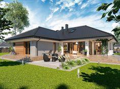 Piękny i luksusowy dom parterowy o powierzchni 245 m2. 🏠😲👌 Zaprojektowano w nim 3 strefy: dzienną, nocną i gospodarczą. Dodatkowymi atutami są 2-st garaż i duży taras. ⛱🍹  Na stronie znajdziecie rzuty i aranżacje wnętrz. 😊 Village House Design, Bungalow House Design, House Front Design, House Plans Mansion, House Roof, Facade House, Beautiful House Plans, Modern House Plans, Three Bedroom House Plan