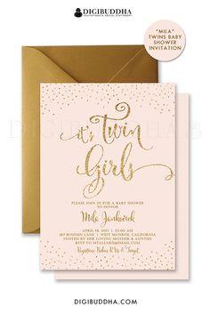 TWIN GIRLS INVITATION Baby Shower Invite Blush Pink & Gold Glitter Confetti…