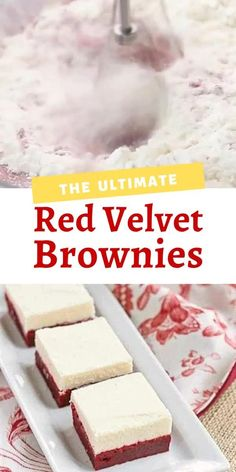 Strawberry Desserts Discover Red Velvet Brownies with White Chocolate Icing Redux Red Velvet Brownies topped with an exquisite white chocolate frosting make an ouf of this world dessert! White Chocolate Desserts, White Chocolate Brownies, Red Velvet Brownies, White Chocolate Frosting, White Brownies, Red Velvet Desserts, Red Chocolate, Velvet Cake, Chocolate Truffles