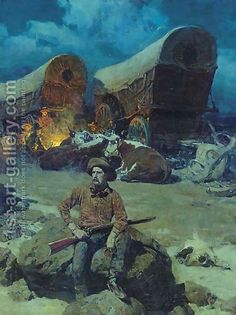 Night Watch Painting by Frank Tenney Johnson Reproduction Nocturne, Gaucho, Westerns, Cowboys And Indians, Real Cowboys, West Art, Cowboy Art, Le Far West, Country Art