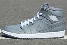 NIKE AIR JORDAN 1 MID COOL GREY/WHITE #sneaker