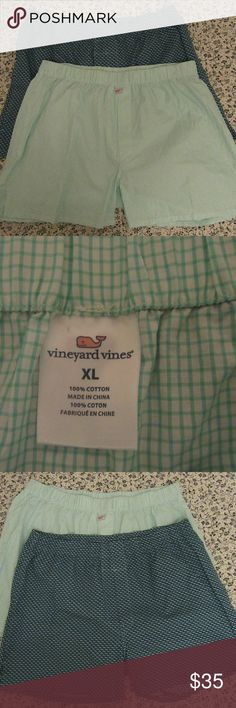 Vineyard Vines Boxers Cotton Sleep Shorts Men's XL excellent shape-1 plaid 1 whale   Vineyard Vines Boxers  Cotton  Sleep Shorts Men's XL bundle Vineyard Vines Underwear & Socks Boxers