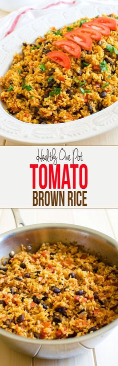 This one pot Mexican brown rice with tomatoes is a great option for any weeknight meals. It is really filling and tastes so fresh. Loaded with Mexican flavors, vegan and gluten free. via @watchwhatueat