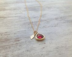 Gold necklace Ruby necklacered and gold summer gold filled ruby blue glass pendant and tiny gold leaf
