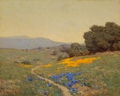 """Granville Redmond """"Rolling Hills with Poppies and Lupine Flowers, dated 1912"""