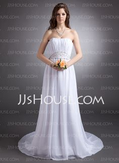 Wedding Dresses - $162.99 - A-Line/Princess Strapless Court Train Chiffon Wedding Dress With Ruffle Beadwork (002016314) http://jjshouse.com/A-Line-Princess-Strapless-Court-Train-Chiffon-Wedding-Dress-With-Ruffle-Beadwork-002016314-g16314