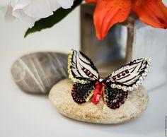Купить Amaterasu - черный, красный, белый, слоновая кость, бабочка, мотылек, эксклюзивная вышивка