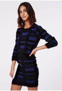 Ceri Fluffy Jumper Blue - Knitwear - Missguided