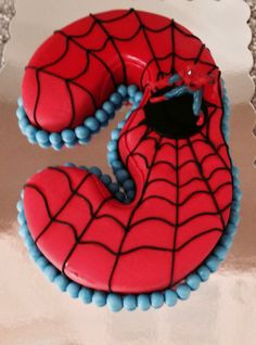 Spiderman cake with number 3!