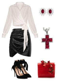 Black Leather Skirt by rebecca-shosey on Polyvore featuring Boohoo, Gianvito Rossi, Nancy Gonzalez, Cartier and Allurez