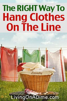 Hanging clothes on a clothesline reduces wear and tear on clothes and gives them a wonderful fresh smell. Hang Dry Clothes, Hanging Clothes, Line Drying Clothes, Diy Cleaning Products, Cleaning Hacks, Laundry Lines, Laundry Hacks, Laundry Rooms, Homemaking