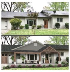 Home Exterior Makeover, Exterior Remodel, Ranch Exterior, Up House, House Front, Garage Extension, Ranch House Remodel, Veranda Design, Front Porch Design