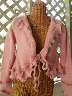 Pink Ruffled Upstyled Sweater Jacket by SheerFab on Etsy