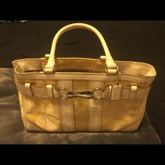 A hardly used coach purse I have a hardly used 7 coach Hampton optic yellow signature tote . Coach Bags Totes