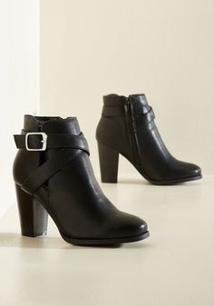 Flair Enforcer Bootie. These black booties show you mean business when it comes to looking bold and brilliant! #black #modcloth