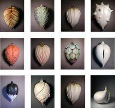 In this project, students will design and create a sculptural (non-functional) hollow form depicting an organic pod from an imaginary plant. Natural seed pods and found textural elements from. alice ballard via dailyartmuse not polymer, great inspiration Ceramic Wall Art, Ceramic Pottery, Pottery Art, Pottery Sculpture, Sculpture Clay, Organic Ceramics, Muse Art, Seed Pods, Organic Shapes