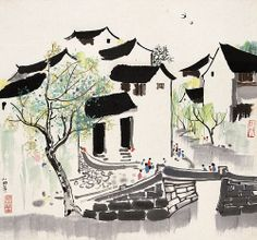 Modern Chinese Painting By Wu Guanzhong Reproduction Japanese Landscape, Japanese Art, Oil Painting Abstract, Watercolor Paintings, Ink Paintings, Watercolour, Painting Art, Wu Guanzhong, Tinta China
