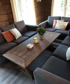 Vigga sofabord stuebord salongbord i Valnøtt Outdoor Sectional, Sectional Sofa, Couch, Rustic Farmhouse Furniture, Outdoor Furniture, Outdoor Decor, Table, Home Decor, Homemade Home Decor