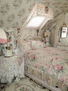 shabby pink rose bedroom