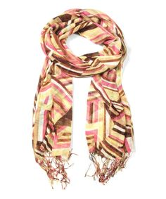 Take+a+look+at+the+Brown+&+Yellow+Geo+Scarf+on+#zulily+today!