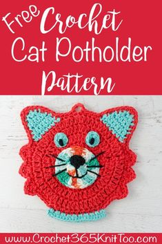 crochet potholder patterns Super easy and fast crochet cat potholder pattern to use or to display. Tons of pictures. A great project for a fun kitchen! Crochet Potholder Patterns, Crochet Cat Pattern, Crochet Dishcloths, Crochet Stitches, Knitting Patterns, Afghan Patterns, Fast Crochet, Crochet Hot Pads, Crochet Food