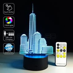Circle Circle Optical Illusion Table Desk Lamp 7 Colors Change Touch Button and 15 Keys Remote Control City Visual Night Light Expo Cafe, Desk Light, Lamp Light, Lampe Led, Led Lamp, 3d Optical Illusions, Laser Cutter Projects, Lamps For Sale, Led Signs