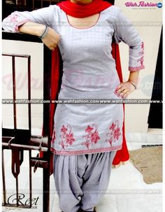 Give yourself a stylish & punjabi look with this Mesmeric Gray Thread Embroidery Punjabi Suit From Reet Glamour. Embellished with Embroidery work. Available with matching bottom & dupatta. It will make you noticable in special gathering. You can design this suit in any color combination or in any fabric. Just whatsapp us for more details. For more details whatsapp us on +919915178418 Phulkari Punjabi Suits, Kurta Pajama Punjabi, Designer Punjabi Suits Patiala, Punjabi Suit Simple, Panjabi Suit, Designer Suits Online, Salwar Suits Party Wear, Embroidery Suits, Hand Embroidery