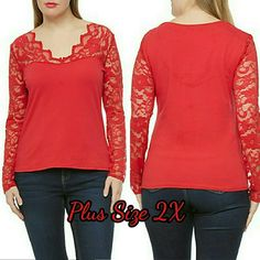 NEW Plus Size Long Sleeve Red Top 2XL New Color red Stretches 95% cotton  5% spandex No flaws Tops Blouses