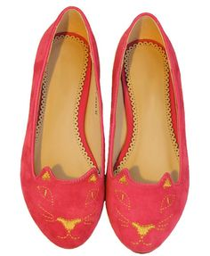 Flat Shoes with Cat Embroidery