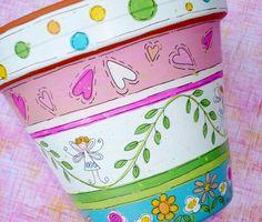 """Flor Pot """"Love Fairy"""" regalo de San Valentín, por encargo de pintado a mano"""