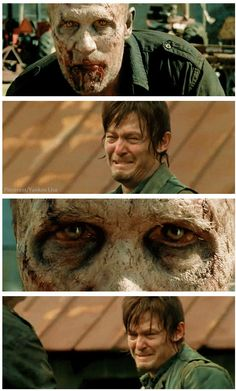 Daryl Dixon cries when he sees that his brother Merle has become a walker
