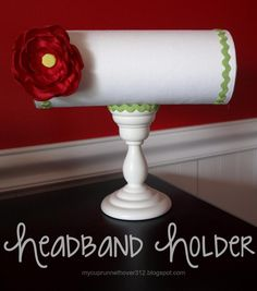I have a similar piece that I use to display headbands at craft fairs! This also works great for necklaces. Super easty to make: Cover PVC pipe with fabric and use a candle stick as the base!