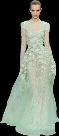 evening dresses, mint green, bridal dresses, ellie saab, green dress, lace dresses, eli saab, elie saab, haute couture